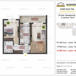 2 camere Dristor residential 2 tip d