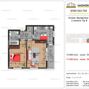 apartament 2 camere Dristor Residential 3 tip B