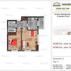 apartament 2 camere Dristor Residential 3 tip e