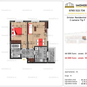 apartament 2 camere Dristor Residential 3 tip f