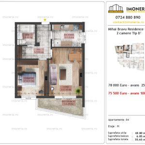 apartament 2 camere Mihai Bravu Residence 10 tip D'