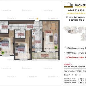 apartament 3 camere Dristor Residential 2 tip D