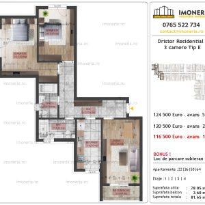 apartament 3 camere Dristor Residential 2 tip E