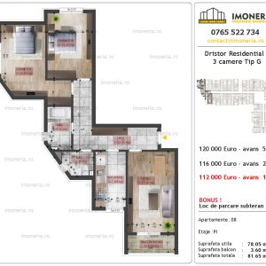 apartament 3 camere Dristor Residential 2 tip G