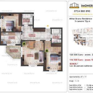 apartament 3 camere Mihai Bravu Residence 10 tip A