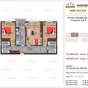 vanzare apartament 3 camere Dristor Residential 3 tip b