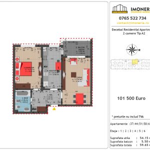 Apartamente de vanzare Decebal Residential Apartments -2 camere tip A2
