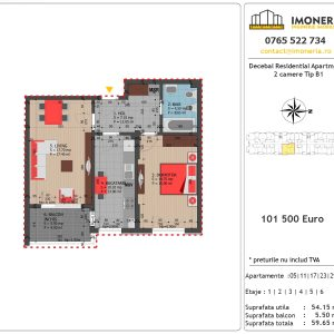 Apartamente de vanzare Decebal Residential Apartments -2 camere tip B1