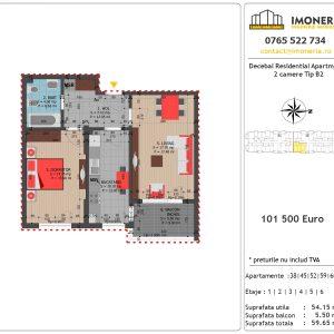 Apartamente de vanzare Decebal Residential Apartments -2 camere tip B2