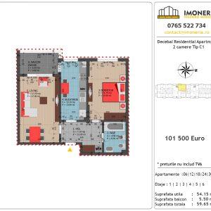 Apartamente de vanzare Decebal Residential Apartments -2 camere tip C1