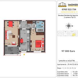 Apartamente de vanzare Decebal Residential Apartments -2 camere tip C2