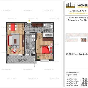 Apartamente de vanzare Dristor Residential 3 -2 camere tip A